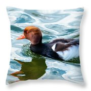 Red Crested Red Beak Red Eye Duck Throw Pillow