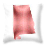 Red Dot Map Of Alabama Throw Pillow