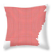 Red Dot Map Of Arkansas Throw Pillow