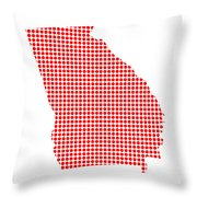Red Dot Map Of Georgia Throw Pillow