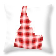 Red Dot Map Of Idaho Throw Pillow