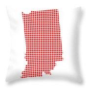 Red Dot Map Of Indiana Throw Pillow