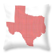 Red Dot Map Of Texas Throw Pillow