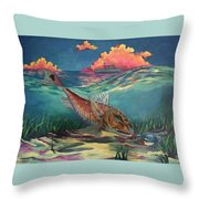 Red Fish Hunt Throw Pillow