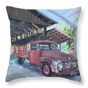Red Ford And Pink Flowers Throw Pillow
