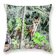 Red Fox In The Woods Throw Pillow