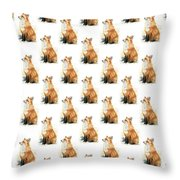 Red Fox Watercolor Pattern Throw Pillow