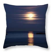 Red Full Harvest Moon Rising Above Pacific Ocean In Autumn Throw Pillow