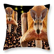 Red Kangaroos Throw Pillow