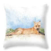 Red Kit Fox #16 - Yoga Sphinx Throw Pillow by Patti Deters