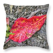 Red Leaf On Green's Hill Throw Pillow