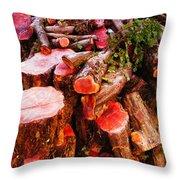 Red Logs Throw Pillow