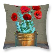 Red Patio Poppies Throw Pillow
