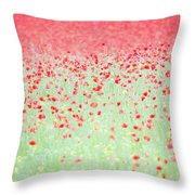 Red Poppies In A Meadow Throw Pillow