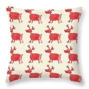 Red Reindeer Pattern Throw Pillow