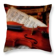 Red Rose And Violin With Sheet Music Throw Pillow