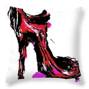 Red Shoe With High Heel Throw Pillow