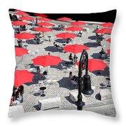 Red Umbrellas 2 Throw Pillow