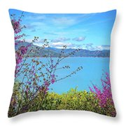 Redbud Beauty Along The Shore Of Shasta Lake Throw Pillow