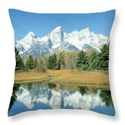 Reflection Of Mountains In Water, Grand Throw Pillow