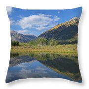Reflections Of The Sawatch Range In The Autumn Throw Pillow