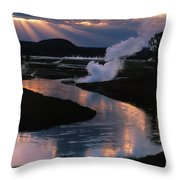 Reflections On The Firehole River Throw Pillow