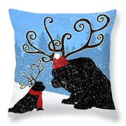 Reindeer Newfs Holiday Card Throw Pillow