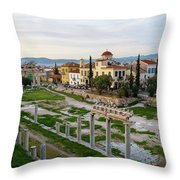 Remains Of The Roman Agora And Cityscape Of  Athens, Greece Throw Pillow