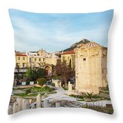 Remains Of The Roman Agora And Tower Of The Winds In Athens Throw Pillow