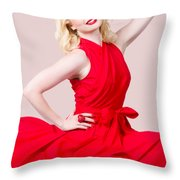 Retro Blond Pinup Woman Wearing A Red Dress Throw Pillow