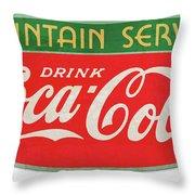 Retro Coke Sign Throw Pillow