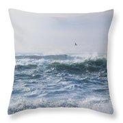 Reynisfjara Seagull Over Crashing Waves Throw Pillow