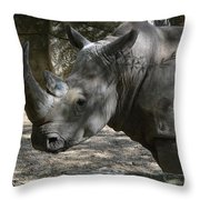 Rhino Standing In The Shade On A Summer Day Throw Pillow