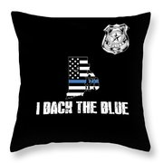Rhode Island Police Appreciation Thin Blue Line I Back The Blue Throw Pillow