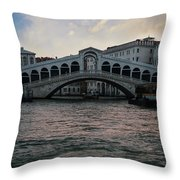 Rialto  Bridge At Sunrise Throw Pillow