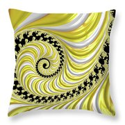 Ribbed Yellow Spiral Throw Pillow