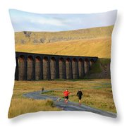 Ribblehead Viaduct In Late Autumn North Yorkshire Throw Pillow