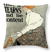 Ride A Stearns And Be Content, Circa 1896 Throw Pillow