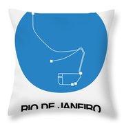 Rio De Janeiro Blue Subway Map Throw Pillow