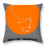 Rio De Janeiro Orange Subway Map Throw Pillow