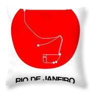 Rio De Janeiro Red Subway Map Throw Pillow