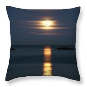 Rise Of The Full Harvest Moon Above Pacific Ocean Throw Pillow