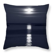 Rise Of The Full Harvest Moon Above Pacific Ocean Black And Whit Throw Pillow