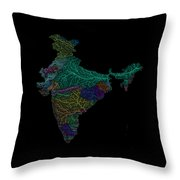 River Basins Of India In Rainbow Colours Throw Pillow