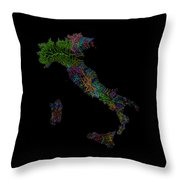 River Basins Of Italy In Rainbow Colours Throw Pillow