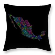 River Basins Of Mexico In Rainbow Colours Throw Pillow