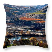 River, Canyon And Slopes Throw Pillow
