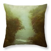 River In Fog Throw Pillow
