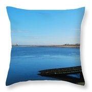 River Tweed Estuaryto Spittal, Pier With Lighthouse And Chimney Throw Pillow