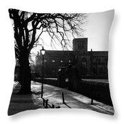 riverside walk in Haddington on winters morning Throw Pillow